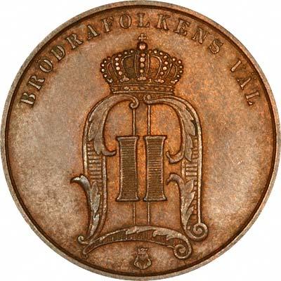 Obverse of 1892 Swedish 5 Ore