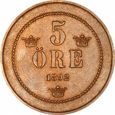 Reverse of 1892 Swedish 5 Ore