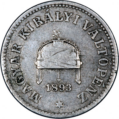 Obverse of 1893 Hungary 10 Filler