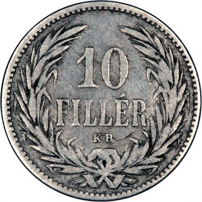 Reverse of 1893 Hungary 10 Filler