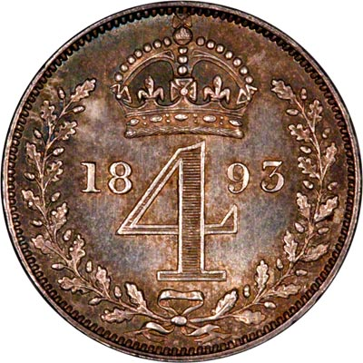 Reverse of 1893 Maundy Threepence