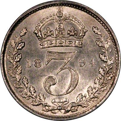 Reverse of 1894 Maundy Threepence