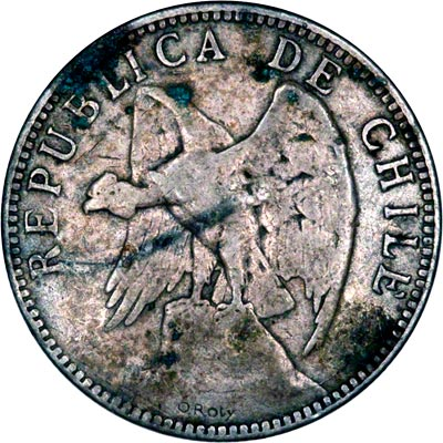 Obverse of 1895 Chile One Peso