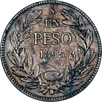 Reverse of 1895 Chile One Peso
