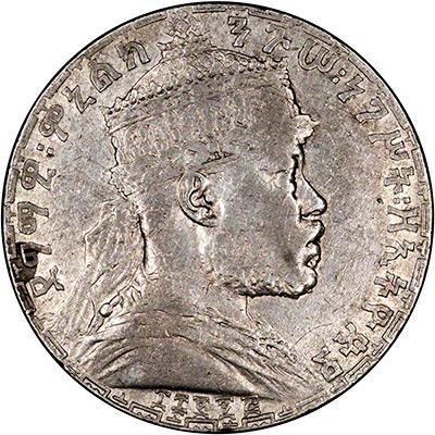 Emperor Menelik II on Obverse of Ethiopia 1 Birr