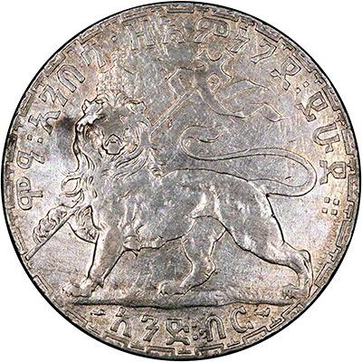 Lion of Judah on Reverse of Ethiopia 1 Birr