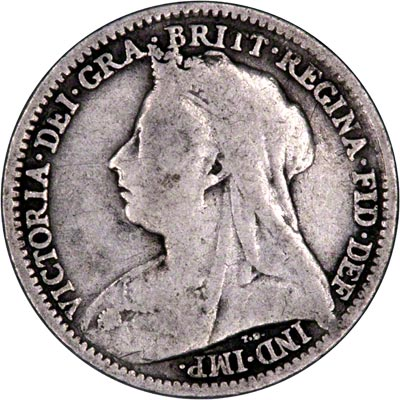 Obverse of 1895 Maundy Threepence