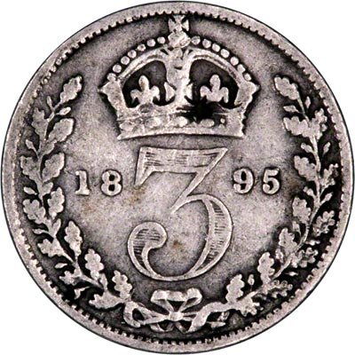 Reverse of 1895 Maundy Threepence
