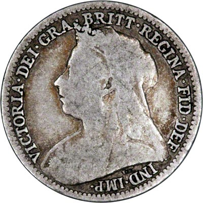 Obverse of 1896 Maundy Threepence