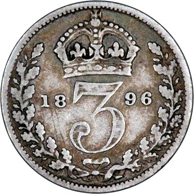 Reverse of 1896 Maundy Threepence