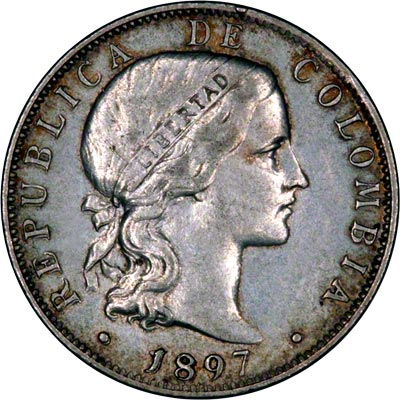 Obverse of 1897 Colombian 20 Centavos