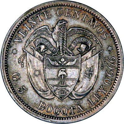 Reverse of 1897 Colombian 20 Centavos