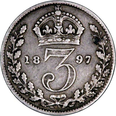 Reverse of 1897 Maundy Threepence
