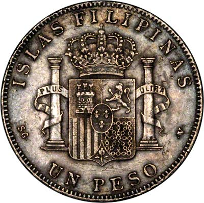 Reverse of 1897 Philippine 1 Peso, Spanish Rule