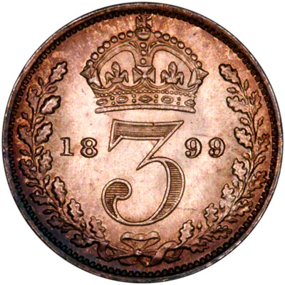 Reverse of 1898 Maundy Threepence