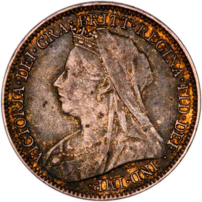 Obverse of Enamelled 1899 Victoria Old Head Sixpence