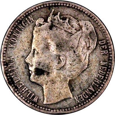 Obverse of 1900 Curaçao Quarter Gulden