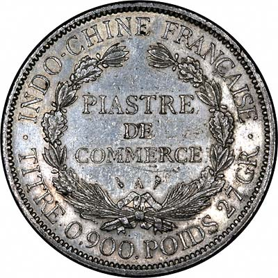 Reverse of 1900 French Indo China Piastre