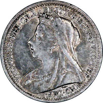 Obverse of 1900 Maundy Threepence