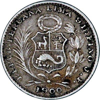 Obverse of 1900 Peru Silver Dinero