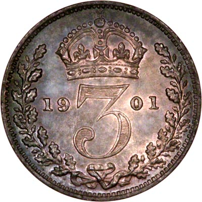 Reverse of 1901 Maundy Threepence