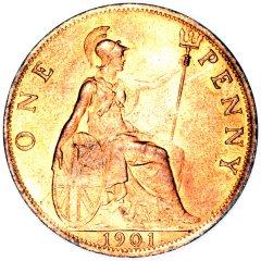 Britannia on an Old Head Bronze Penny of Victoria