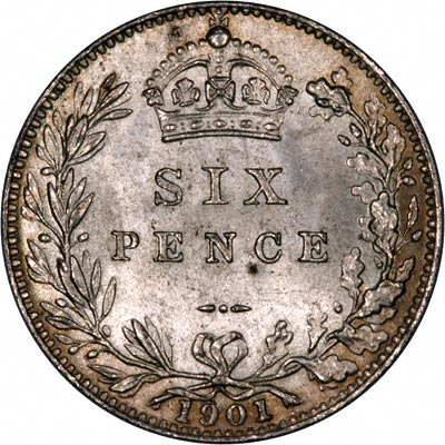 Reverse of 1901 Sixpence