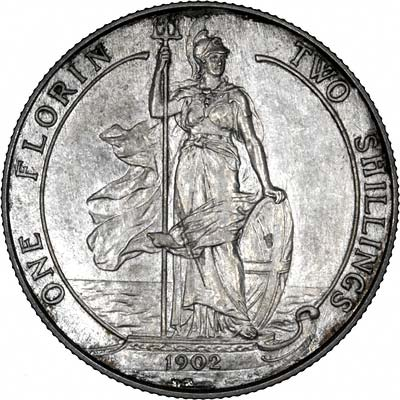 Standing Figure of Britannia on 1902 Florin of Edward VII