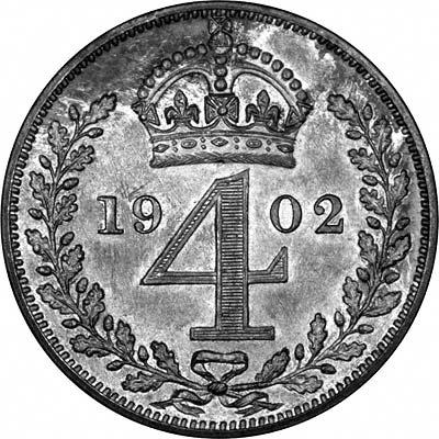 Reverse of 1902 Maundy Threepence