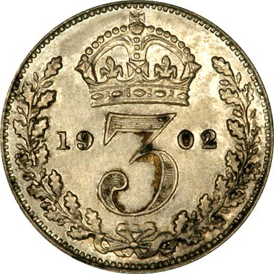 Reverse of 1902 Maundy Threepence