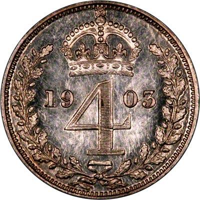 Reverse of 1903 Maundy Threepence
