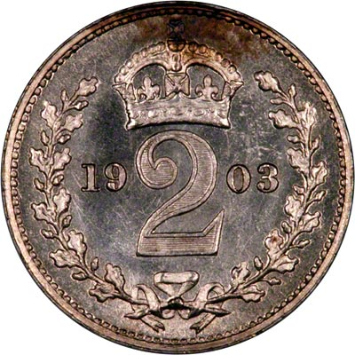 Reverse of 1903 Maundy Twopence