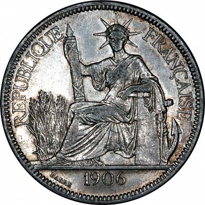 Obverse of 1906 French Indo China Piastre