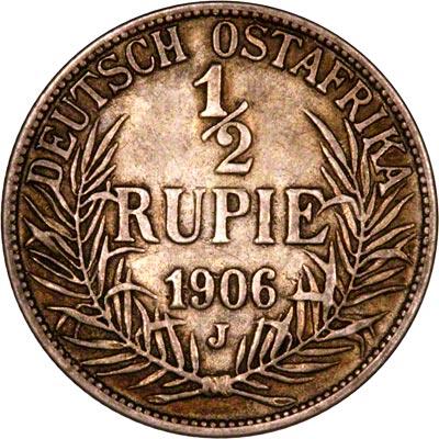 Reverse of 1906 German East Africa Half Rupie