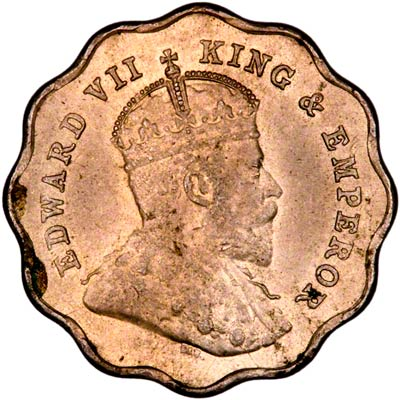 Obverse of 1907 India One Anna
