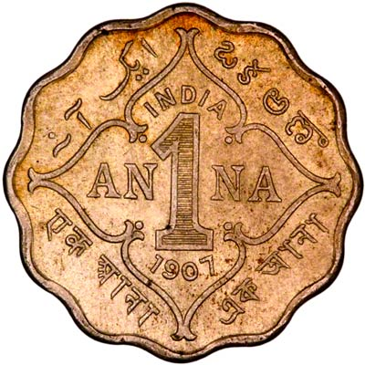 Reverse of 1907 India One Anna