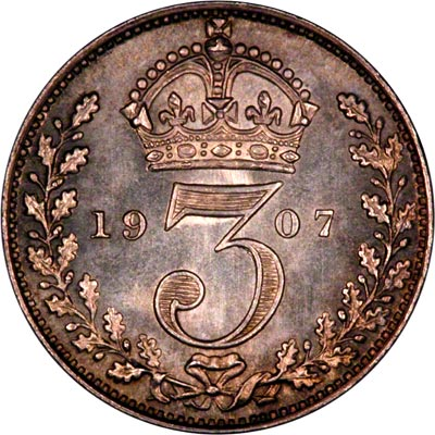 Reverse of 1907 Maundy Threepence
