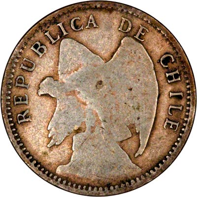 Obverse of 1908 Chile 10 Centavos