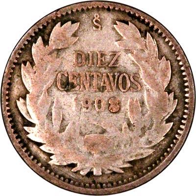 Reverse of 1908 Chile 10 Centavos