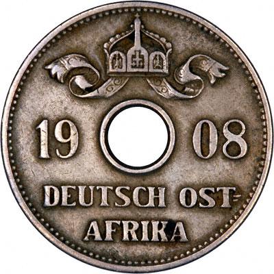 Obverse of 1908 German East Africa 10 Heller