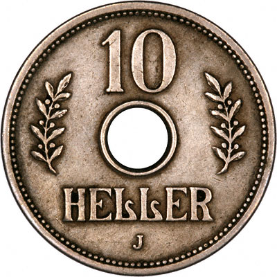 Reverse of 1908 German East Africa 10 Heller