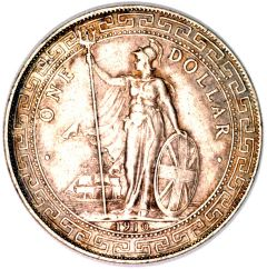 Standing Figure of Britannia on British Trade Dollar of 1910