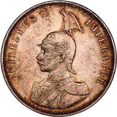 Obverse of 1910 German East Africa 1 Rupie