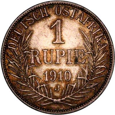 Reverse of 1910 German East Africa 1 Rupie