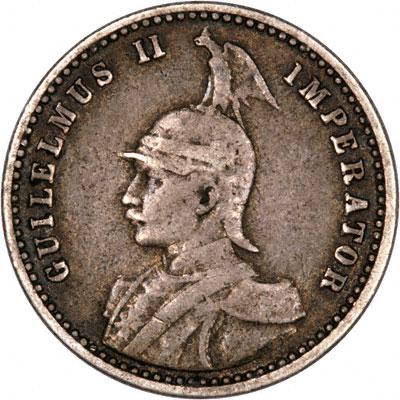 Obverse of 1910 German East Africa Quarter Rupie