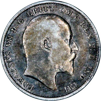 Obverse of 1910 Maundy Threepence