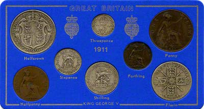 Obverse of 1911 Selected Coin Set in Presentation Card