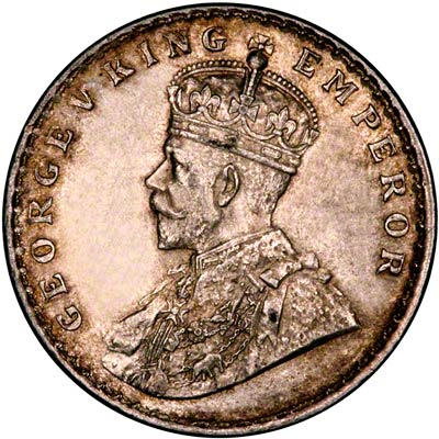 Obverse of 1911 India One Rupee