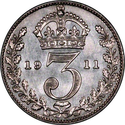 Reverse of 1911 Maundy Threepence