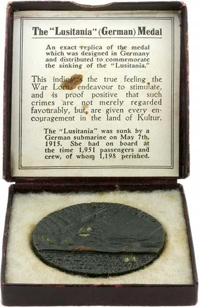 RMS Lusitania Medal in Presentation Box